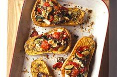 A really attractive autumn recipe with sweet butternut squash halves stuffed with roasted vegetables and goat's cheese and finished with a scattering of breadcrumbs to make little eat-all vegetable gratins. Bbc Good Food Recipes, Vegetarian Recipes, Cooking Recipes, Yummy Food, Healthy Food, Yummy Recipes, Healthy Heart, Budget Recipes, Gastronomia