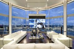 Architecture, Contemporary Bright White Penthouse Interior Design Overlooking Stunning View: Large Screen Hanging In Front Of Glass Wall In Living Room Home Interior Design, Interior Architecture, Interior And Exterior, Stylish Interior, Luxury Interior, Style At Home, Luxury Penthouse, Penthouse London, Luxury Condo