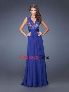 V-neck Sheer Back Lace Chiffon Prom Dress PD2661