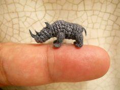 Rhino  Micro Crochet Stuffed Tiny Animal  Made To Order by SuAmi, $65.00