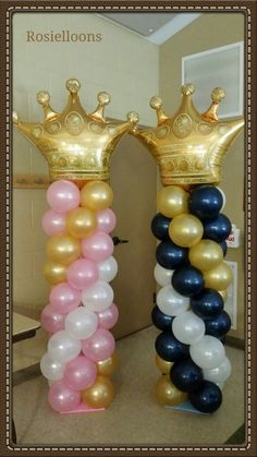 Change to rrd white and blue :) Royalty Baby Shower, Baby Shower Princess, Baby Boy Shower, Baby Shower Themes, Prince Birthday Party, Princess Birthday, Princess Balloons, Baby Gender Reveal Party, Gold Baby Showers