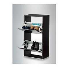 Bissa Shoe Cabinet With 2 Compartments, Black, Brown