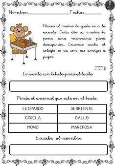 Bonitas fichas de comprensión lectora - Imagenes Educativas Spanish Classroom, Teaching Spanish, Comprehension, Excercise, Kids And Parenting, Leo, Acting, Homeschool, It Cast