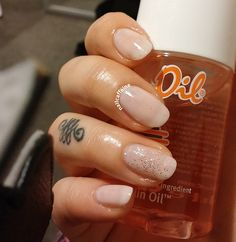 Sheer and simple with a bit of bling! Check out my nail art blog! http://nailcaffeine.com/