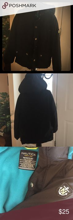 Black Nautica Jacket- Boy's Size 5/6 This jacket is in excellent condition and was worn 5 times. No tears, holes or stains! It is very warm and has a hood, 4 pockets in the front that button and a pocket on the left inside of the jacket. It is a zip up but also has buttons that button over the zip up. The buttons have the Nautica logo (N with the sailboat) on them! The Nautica logo (N in the middle of an anchor) is on the left arm! The shell/exterior, lining and filling are all 💯%…
