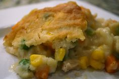 CHICKEN POT PIE CASSEROLE         3 boneless, skinless chicken breasts, cooked & shredded  2 cups chicken stock-small bag of frozen vegetables  ½ stick butter  2 cups Bisquick  2 cups 2% milk  1 can cream of chicken soup  3 chicken bouillon cubes  1/2 t. dried sage  1 t. S & P    Preheat oven to 350º