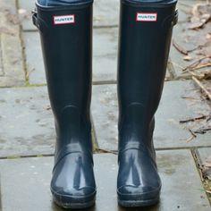 Hunter rain boots Shiney navy blue hunter rainboots - worn once, too big for me. No trades Hunter Boots Shoes Winter & Rain Boots