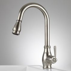 withrow single hole kitchen faucet with pull down spray satin nickel signature hardware