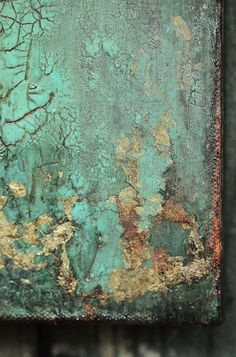 Abstract Turquoise Gold Leaf Texture Painting by AmyNealArtStudio