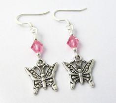 Pink Butterfly Earrings Butterfly Earrings by BeadBrilliant, $18.00
