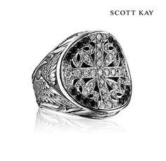 #ScottKay's Mens Faith Collection - Mens Sterling Silver Oversized Faith Ring with Diamond and Black Sapphire Center (Product Style: GR2742SAABSDPL) #ScottKay #MensFashion