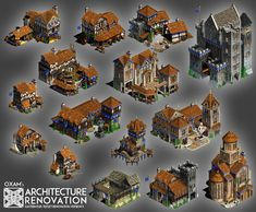 Architecture Renovation for Age of Empires 2 Minecraft Building Blueprints, Minecraft Houses, Minecraft Creations, Minecraft Projects, Fantasy Map, Fantasy World, Dwarven City, Architecture Renovation, Isometric Map
