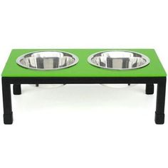 Rendezvous designer dog diner is a modern work of modern art.This elevated dog bowl features non-skid plastic tips on the legs. Elevated dining reduces stress to neck & back thus promoting improved posture. 10 inch tall / 3 QT stainless bowls
