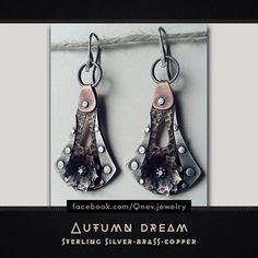 Earrings. Sterling Silver,  copper, brass :-) #earrings #sterlingsilver #copper #brass #jewelrydesign #jewelrydesigner #jewellery #jewelry #beauty #metalwork #artwork #silverjewelry #silverearrings #mythe #lemythe #autumn
