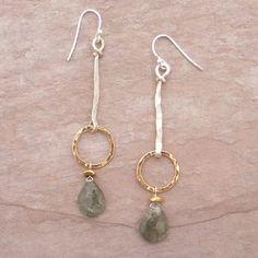 Dangling Circle and Labradorite Earrings