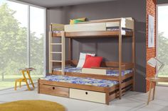 Pat etajat din lemn masiv de pin pentru copii Natu III #homedecor #interiordesign #inspiration #house #bedroomdecor #kidsroom Mattress Covers, Bed Mattress, Childrens Bunk Beds, Bunk Bed With Trundle, Canopy Curtains, Wood Joinery, Built In Desk, Bed Sizes, Indoor Air Quality