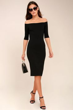 a943848f0734 Girl Can't Help It Black Off-the-Shoulder Midi Dress Black Lace