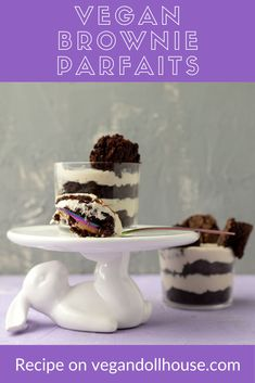 This simple vegan brownie parfait features layers of brownies and whipped cream. These are perfect to make for a dinner party or other event, because you can do most of the prep the day before to save time on the day you assemble them. I made mine look like bears, because bears are cute, but you can always omit that step for a more elegant dessert. #vegandollhouse #vegan #recipe #cutefood #bear #brownie #parfait #chocolate #whippedcream Vegan Party Food, Vegan Snacks, Vegan Brownie, Vegan Cake, Best Vegan Recipes, Healthy Dessert Recipes, Vegan Ice Cream, Whipped Cream, Baking Without Butter