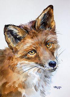 Dictées d'autrefois: Cours Moyen - Dictée N°87 - Le Renard (Buffon) Animal Sketches, Animal Drawings, Art Drawings, Horse Drawings, Watercolor Artwork, Watercolor Animals, Watercolour, Art Fox, Fox Drawing