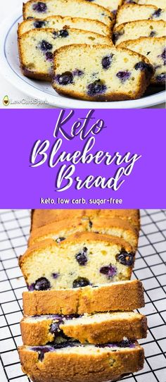 Keto Blueberry Bread - Low-Carb Enjoy a slice of blueberry bread at only net carbs each. It's made with almond flour and coconut flour, this recipe is perfect for a ketogenic diet. via a slice of blueberry bread at only net carbs e Keto Desserts, Keto Snacks, Sweets Recipes, Ketogenic Recipes, Low Carb Recipes, Ketogenic Diet, Bread Recipes, Lamb Recipes, Protein Recipes