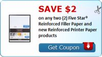 Save $2.00 on any two (2) Five Star® Reinforced Filler Paper and new Reinforced Printer Paper products : #Uncategorized Check it out here!!