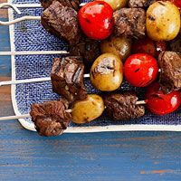 Just what a Meat and Potato guy ordered. Beef kabobs with baby potatoes and cherry tomatoes.