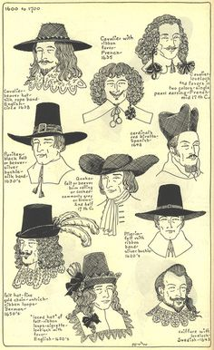 """Seventeenth Century: Chapter 10, plate 4/17: """"Modes in Hats and Headdresses: A Survey of History"""" by R Turner Wilcox 
