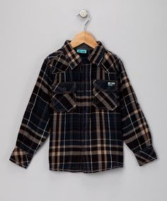 #zulily #fall Navy Plaid Button-Up - Toddler & Boys