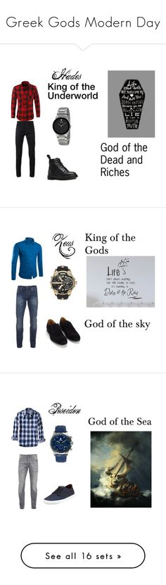 """Greek Gods Modern Day"" by keraunos ❤ liked on Polyvore featuring Haider Ackermann, Dr. Martens, modern, men's fashion, menswear, Scotch & Soda, SELECTED, Diesel, Banana Republic and Ben Sherman"