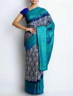 Printed silk saree at Jaypore.com