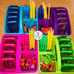 It's no surprise I've been obsessed with caddy organization as of late and I've learned some helpful tips! Then I see thus by… First Grade Classroom, New Classroom, Classroom Design, Preschool Classroom, Classroom Themes, Preschool Assessment, Classroom Organisation, Classroom Supplies, Teacher Organization