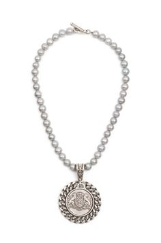 """16"""" silver pearls with antiqued sterling silver-clad teardrop FK bail, curb bezel and Aime medallion by French Kande"""