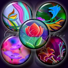 Whimsical Flowers  2 Digital Collage Sheets CG512 by CobraGraphics, $3.50