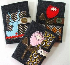 Love these notebook covers! The felt and Shweshwe combo looks great Sewing Hacks, Sewing Projects, Sewing Ideas, I Love You Mom, My Love, Felt Crafts, Diy Crafts, African Textiles, Needle Case