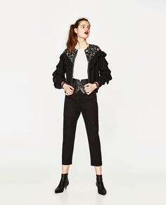 ZARA - TRF - EMBROIDERED JACKET WITH FRILLS