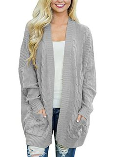 Dokotoo Womens Plus Size 2017 Regular Ladies Casual Fall Thick Long Sleeve  Open Front Long Cable Knit Cardigans Sweaters Pullover Outwear Coat Under  10 20 ... 656702f82
