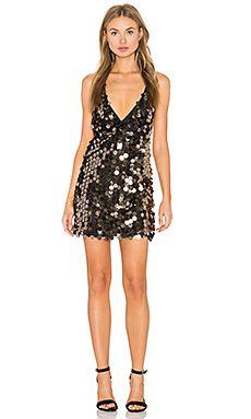 Motel Finn Dress in Black & Gold Speckle Sequin