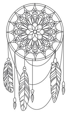 Dream a Little Dream Urban Threads Unique and Awesome Embroidery Designs Mandalas Painting, Mandalas Drawing, Zentangles, Coloring Book Pages, Coloring Sheets, Dream Catcher Coloring Pages, Dream Catcher Clipart, Embroidery Patterns, Hand Embroidery