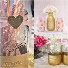 Frascos pintados para primer cumpleanos en rosa y dorado