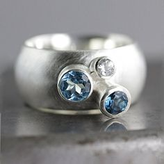 Sterling Silver and Blue Topaz - Three Stone Wide Chunky Statement Ring =^..^= Similar products @ http://www.amazon.com/gp/product/B015LCW6XA/?tag=festiveseasonalstore-20&RS=190816023429