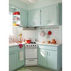 light blue kitchen w/ pop of red found on Polyvore vintage kitchen vibe