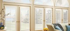 Hunter Douglas Faux Wood Shutters on Arched Windows and French Doors « Eye on Design drapery, shutters & blinds, inc. Interior Windows, Pretty House, Interior Shutters, Living Room Windows, Blinds For Windows, Arched Window Treatments, Interior Window Shutters, Interior Design, Living Room Designs