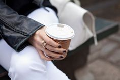 Love this pic!  The casual occasion, the edgy jacket and glamorous ring and fierce nails.  My City, My Style: 2 Chic Editors Show Us Their Upper East Side #refinery29