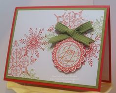 Nice simple Christmas card design—Snowflakes in Poppy