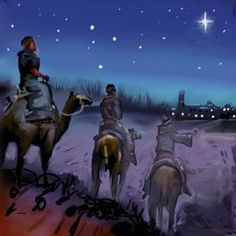 20. De wijzen uit het oosten komen aan in Bethlehem. Adventskalender mozaiek.