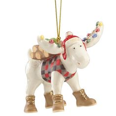 Lenox 2016 Marcel the Lumberjack Moose Ornament Crafted of hand-painted ivory porcelain with gold accents Gold hanging cord included Height: 3 Lenox Christmas Ornaments, Christmas Moose, Woodland Christmas, Merry Little Christmas, Christmas Lights, Christmas Decorations, Christmas 2016, Holiday Crafts, Holiday Decor