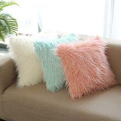 Mongolian faux fur decorative cushion cover.
