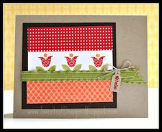 Stampin' Up! Summer Smooches Designer Series Paper and Bright Blossoms Stamp Set.  Design by Janet Wakeland.