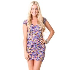 Ruched #Floral Fitted #Dress