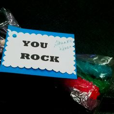 You Rock thank you gift with rock candy.